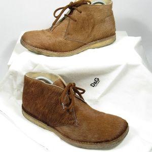 DOLCE & GABBANA Mens Desert Chukka Boots Pony Hair
